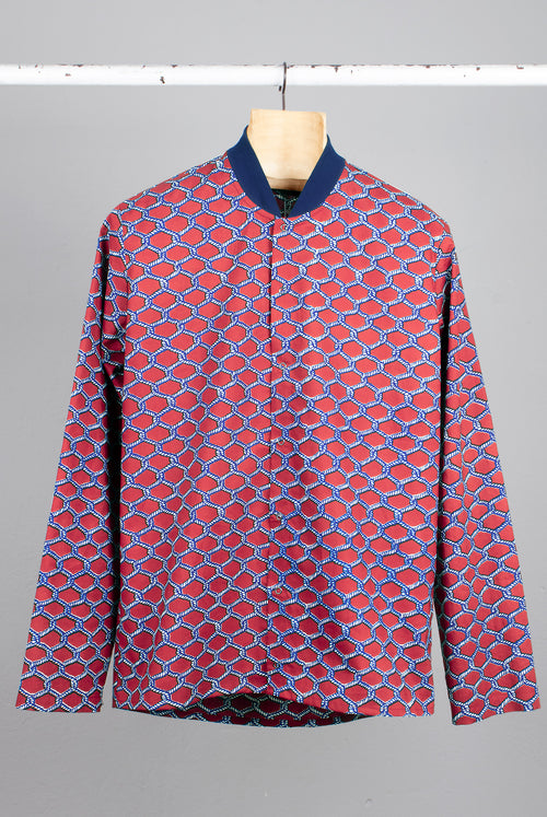 Shirt with rib collar Wax print with a knotted rope pattern , red and white,Snap button closure