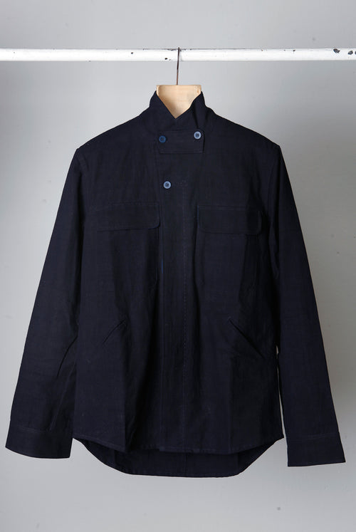 addeertz hand dyed indigo jacket, with patchwork detail
