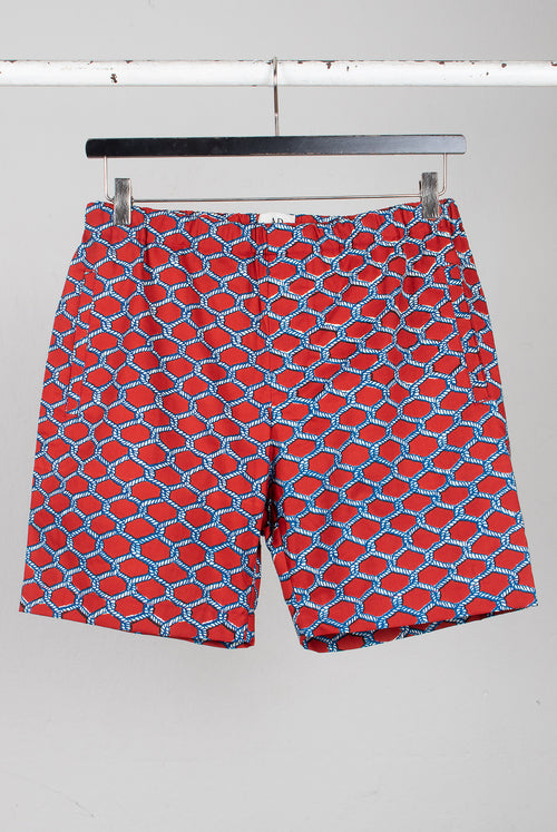 draw string shorts in a red white rope pattern fabric