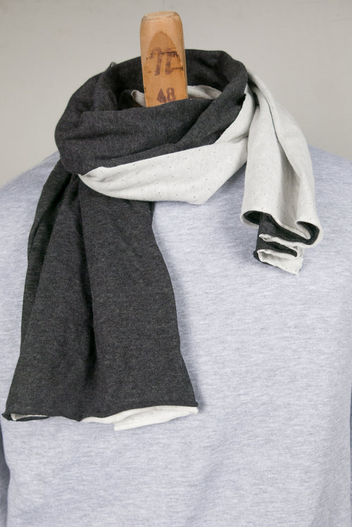2 Layer jersey scarf Dark grey and off-white  170cm x 40cm