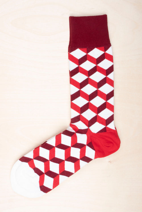 Dilly socks Big bloody dice  red white geometric pattern