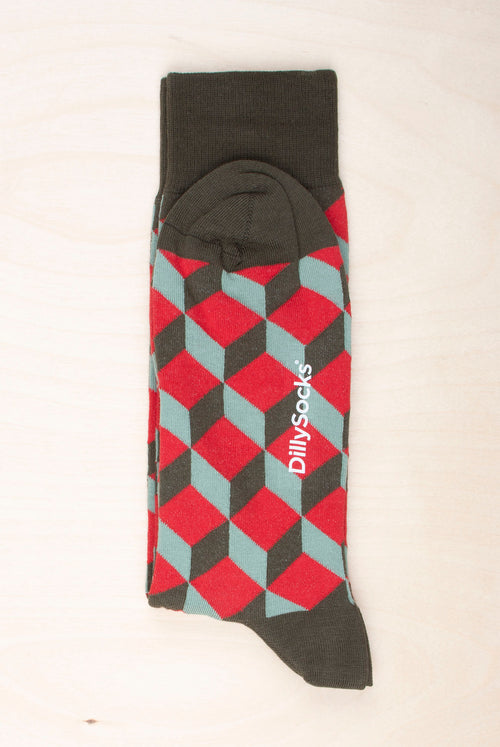 Dilly Socks Big Moola Dice with colorful geometric pattern 80% Organic Cotton, 18% polyamide, 2% Spandex Made in Portugal