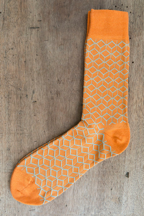 Orange Socks with an outline geometric pattern