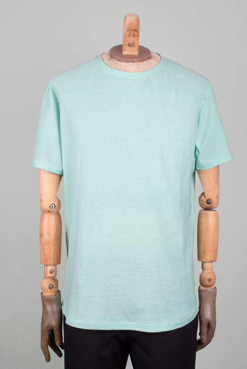 colored mint cotton t-shirt, no shoulder seams