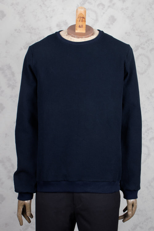 Navy Regular fit sweater with a waffle like texture