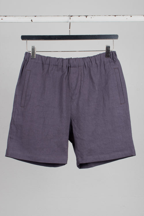 Menswear Draw string shorts in a darkk slate blue wasy going summer fabric cotton and linen