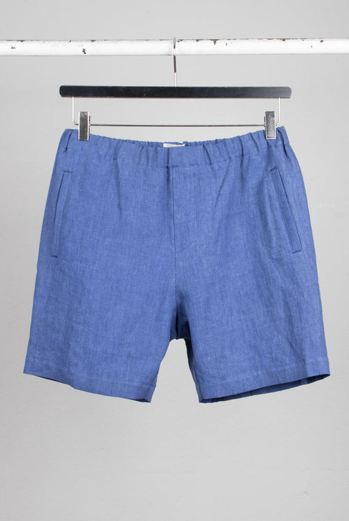 Menswear Draw string shorts easy going summer linen fabricin eletric blue