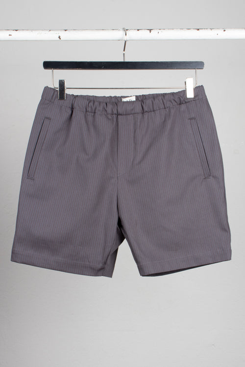 Menswear Draw string shorts made with brushed soft fabric with brown pinstripes on grey