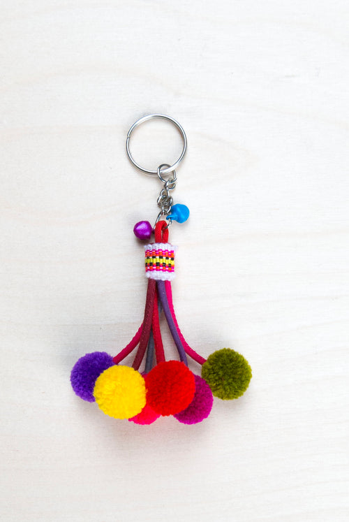 colorful pom pom key ring