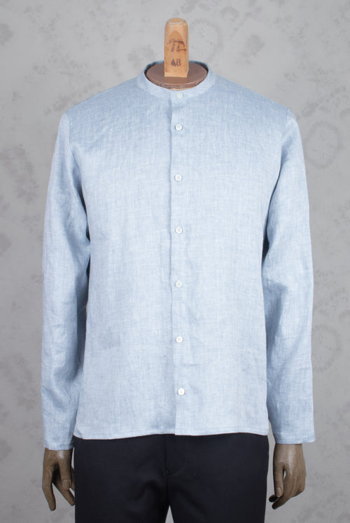shirt with band collar with stiny blue dots on white