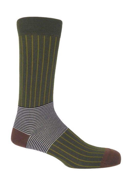 Peper Harow Socks (Oxford Stripe sage)