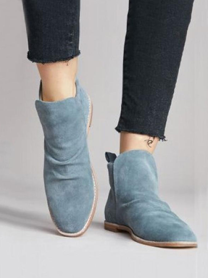 1fe5689538bf Solid All Season Faux Suede Slip On Booties Low Heel Daily Ankle Boots