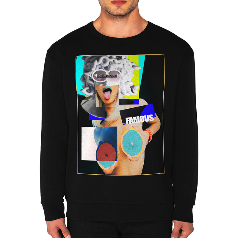 BLACK ABSTRACT LUXURY DESIGNER GRAPHIC SWEATSHIRT FOR MEN - oneoffcouture