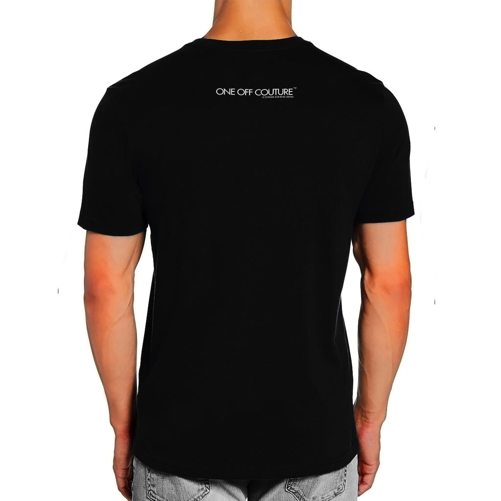 BLACK PRINTED LUXURY DESIGNER T-SHIRT FOR MEN - oneoffcouture