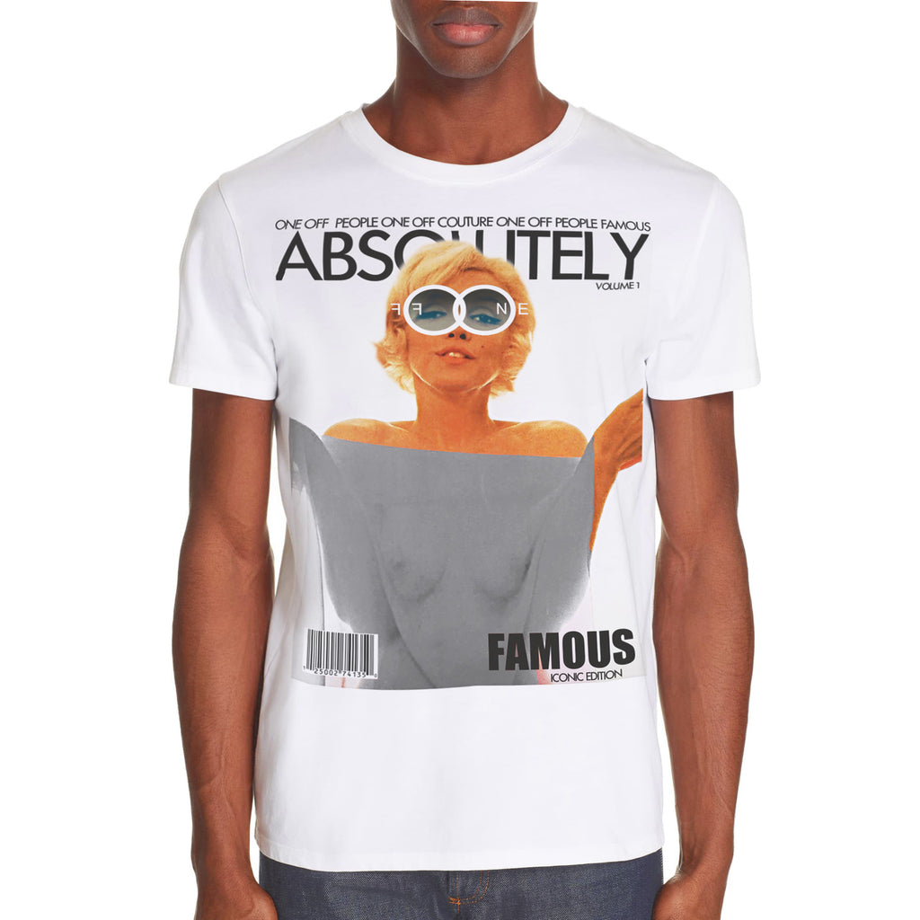 WHITE MARILYN MONROE LUXURY DESIGNER GRAPHIC T-SHIRT FOR MEN - oneoffcouture