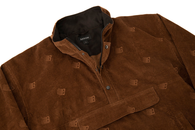 ALL OVER EMBROIDERD ANORAK BROWN