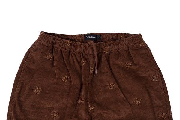 EMBROIDERED SYNCH CORDS BROWN