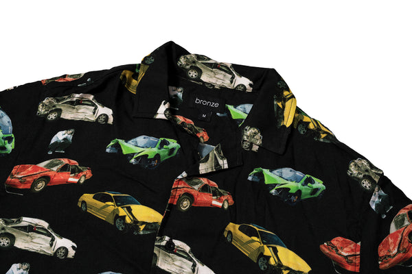 WRECKED CARS BUTTON UP BLACK