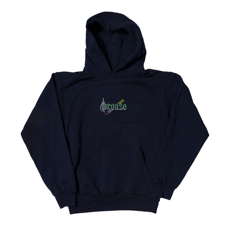 EMBROIDERED SMOKE HOODY NAVY