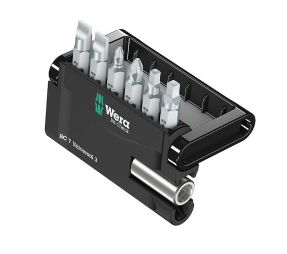 photo 1 of Wera Driver Bit Set 7 pieces, #1, #2, 1 x 5.5 mm, 1.2 x 6.5 mm, 1/4 in, PH 1, PH 2