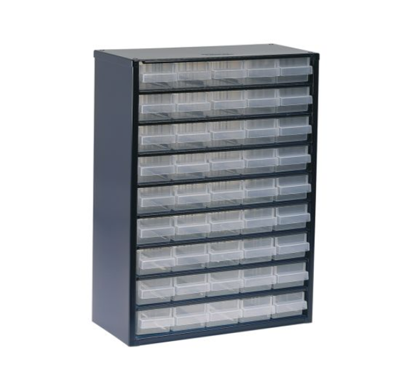 photo of Raaco Blue, Steel 45 Drawer Storage Unit, 417mm x 306mm x 150mm Small Parts / Components Storage Cabinet
