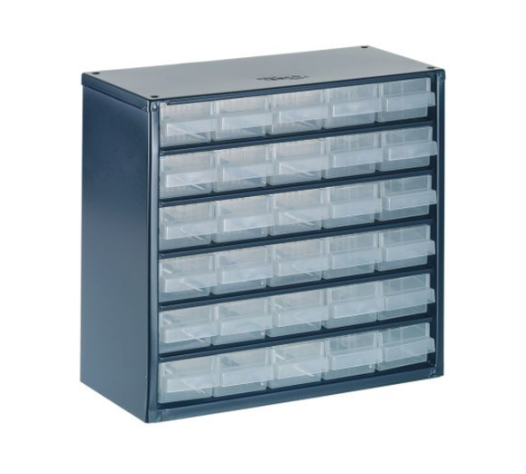photo of Raaco Blue, Steel 30 Drawer Storage Unit, 283mm x 306mm x 150mm Small Parts / Components Storage Cabinet