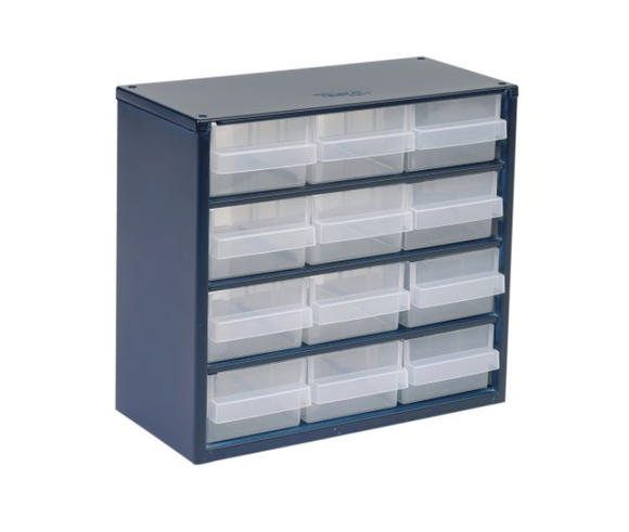 photo of Raaco Blue, Steel 12 Drawer Storage Unit, 283mm x 306mm x 150mm Small Parts / Components Storage Cabinet