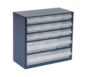 photo of Raaco Blue, Steel 16 Drawer Storage Unit, 282mm x 306mm x 150mm Small Parts / Components Storage Cabinet