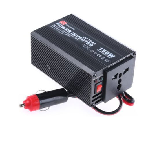 PHOTO 1 OF RS PRO 150W DC-AC Car Power Inverter, 12V dc / 230V ac - Universal UK/Euro Output Sockets with USB