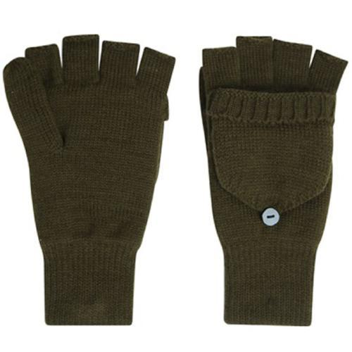 Fingerless Gloves With Mitten Cap Green Proclimate Warm Thermal Gloves Unisex