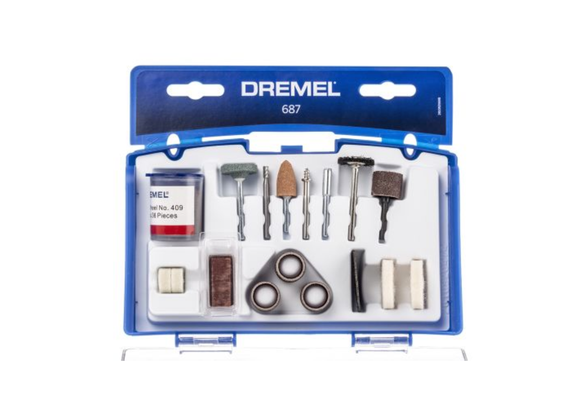 photo of DREMEL® 687 Tool Kit, 52 Piece Tool 26150687JA, Dremel Cleaning & Polishing Set includes: Sanding, Cleaning, Polishing, Cutting, Grinding, Sharpening, Carving, Engraving, Routing, Collets & Mandrels