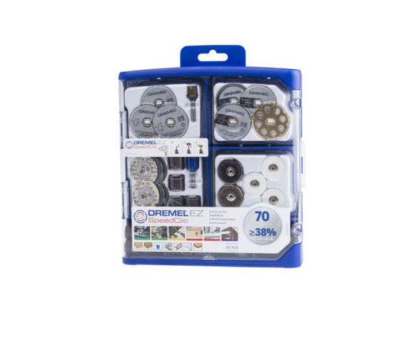 photo 1 of DREMEL® EZ SpeedClic SC725, 70 Piece Multi-purpose Accessory Set, Grinding & Cut-Off Wheels, Polishing Wheels, Sanding Bands, Discs, Abrasive Buffs, 2.615.E72.5JA