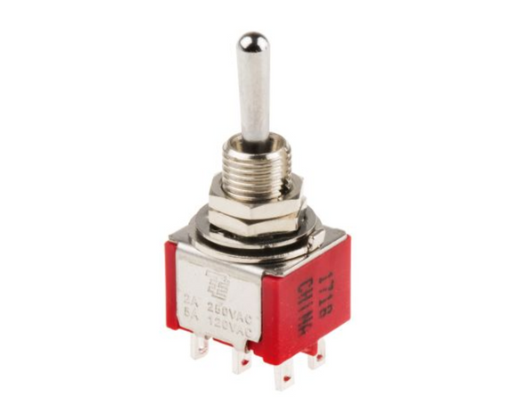 photo 1 of TE Connectivity DP3T Toggle Switch, Gemini A Series Panel Mount Switches 3-1825139-9, 5A On-On-On