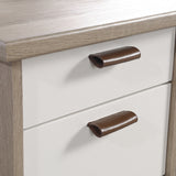 close-up of drawer handles on Avon Leather Handled Desk