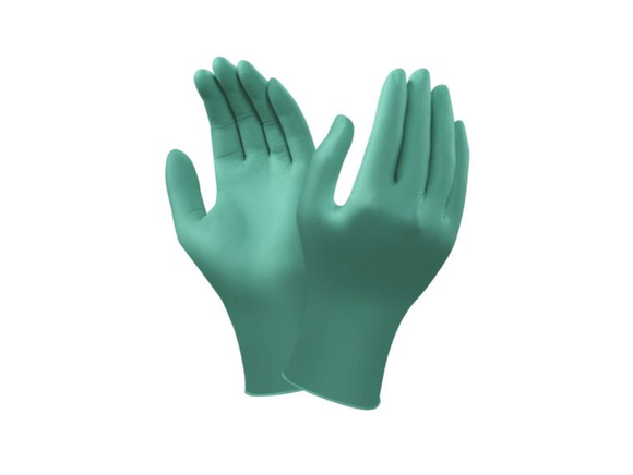 photo of TouchNTuff® Nitrile Gloves, Ansell Green Disposable Gloves Size 6.5 Small Powder-Free x 100