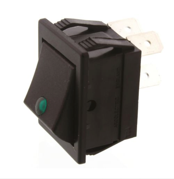 Arcolectric Double Pole Single Throw (DPST), Latching Rocker Switch Panel Mount