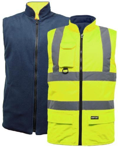 Hi Vis Body warmer, Reversable Jackets Sizes S - 3XL, Yellow, Orange BD312