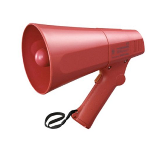 photo of TOA Hand Grip Megaphone 6W Hand Held Megaphones with Siren in Red