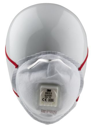 Photo of 3M™ Aura™ Disposable Face Mask FFP3 Valved Respirator Masks 8833 Soft Seal Box of 10