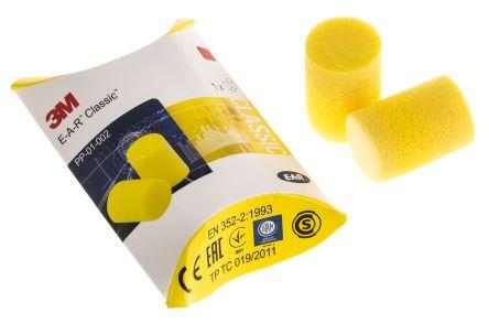 3M E.A.R Disposable Yellow PVC Uncorded Ear Plugs, 28dB, 250 Pairs