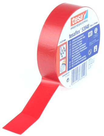 Photo of Tesa Tesaflex 53948 Red Electrical Tape 19mm x 25m 53948-00037-07 PVC Rubber 5000V