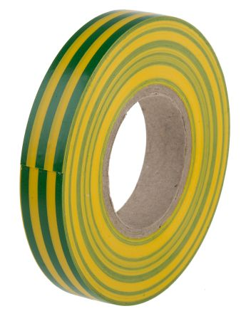 Photo of Green, Yellow Electrical Tape 12mm x 20m PVC 0.13mm +70°C BS EN 60454-3-1 Type 2