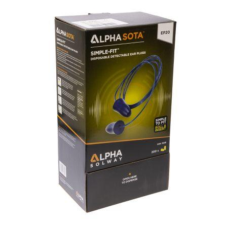 Alpha Solway Disposable Blue Polyurethane Corded Ear Plugs, 35dB, 200 Pairs