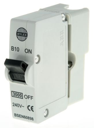Wylex 10A 1 Pole Type B Miniature Circuit Breaker Plug In B Series MCB 3kA Break