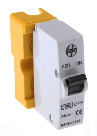 Wylex 20A 1 Pole Type B Miniature Circuit Breaker Plug In B Series