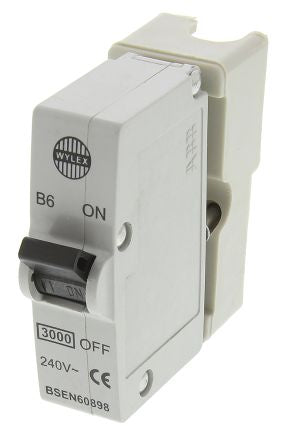 Wylex 6A 1 Pole Type B Miniature Circuit Breaker Plug In B Series