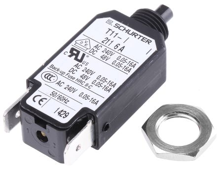 Schurter T11 1 Pole Thermal Magnetic Circuit Breaker, 240V ac 4400.005