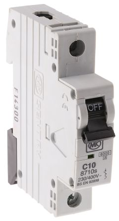 MK Electric 10A 1 Pole Type C Miniature Circuit Breaker Sentry 8710S, 230V