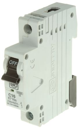 MK Electric 16A 1 Pole Type C Miniature Circuit Breaker Sentry 8716S, 230V