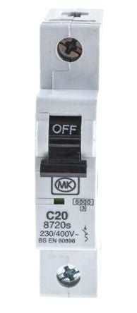 MK Electric 20A 1 Pole Type C Miniature Circuit Breaker Sentry 8720S, 230V